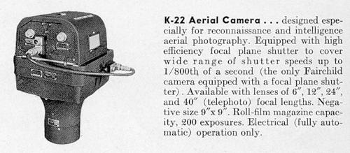 K-22 aerial camera with 12 inch lens