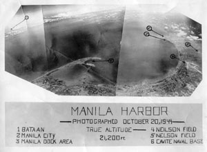 Manila Bay from 21,200 ft. on 20 Oct 44